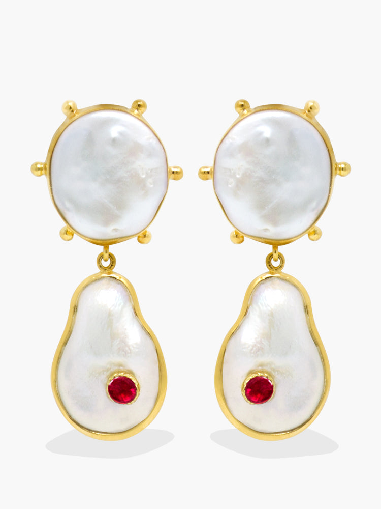Rebel Rebel Pearl & Ruby Statement Earrings