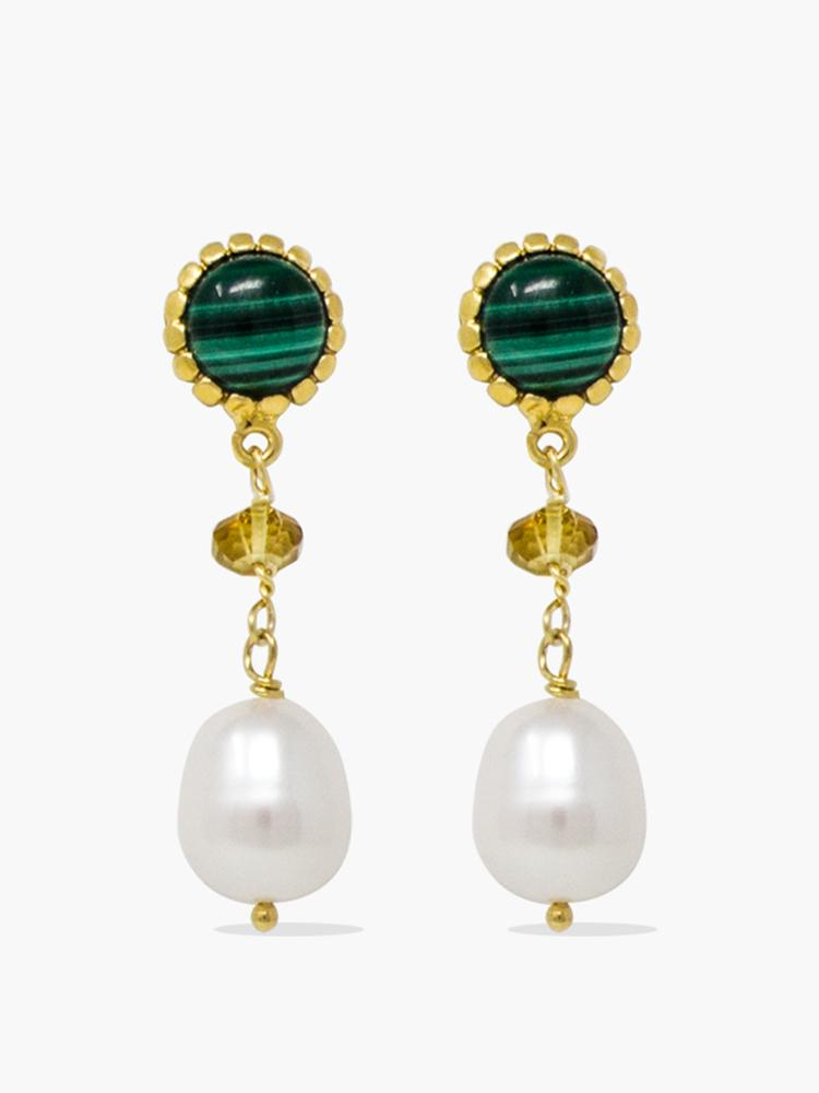 Gold-plated Malachite, Yellow Citrine Quartz and pearl drop earrings by Vintouch Jewels.