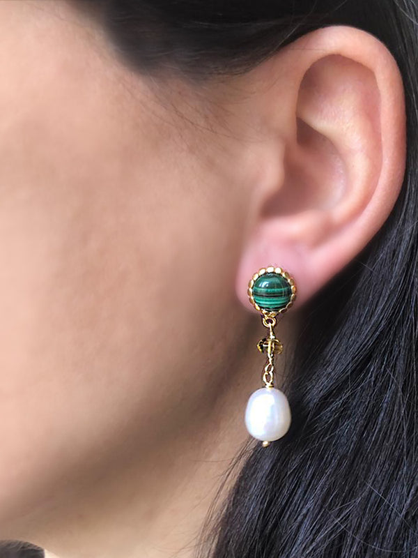 Malachite, Citrine Quartz & Pearl Drop Earrings