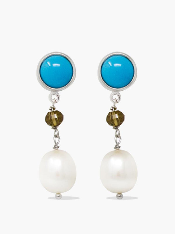 Sterling silver turquoise, smoky quartz and pearl drop earrings by Vintouch Jewels.