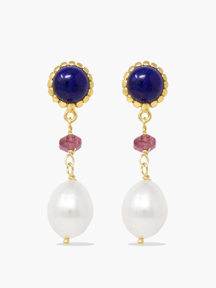 Gold-plated Lapis, Pink Quartz and Pearl Drop earrings by Vintouch Jewels.