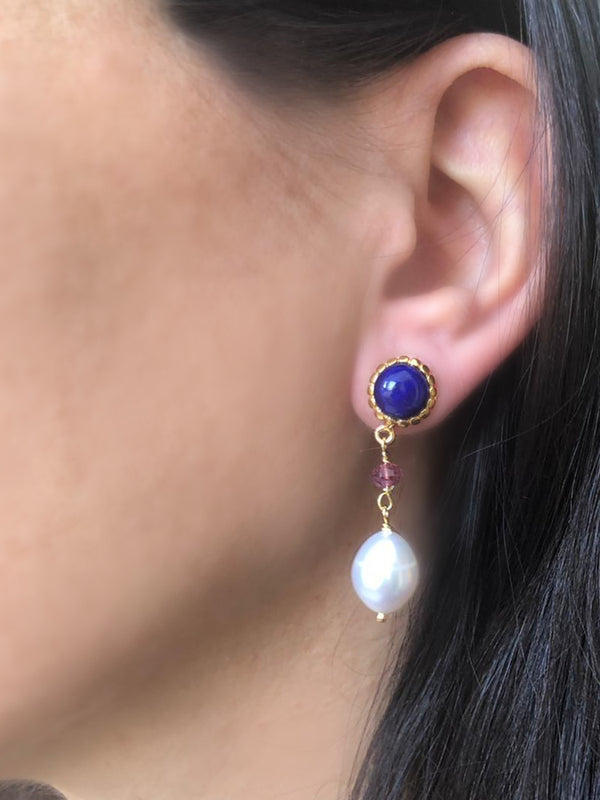 Lapis, Pink Quartz & Pearl Drop Earrings