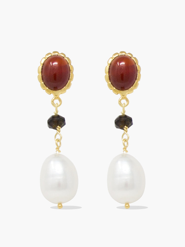 Gold-plated carnelian, onyx and pearl drop earrings by Vintouch Jewels.