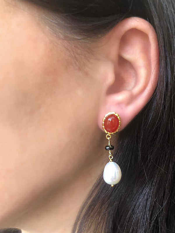 Carnelian, Onyx & Pearl Drop Earrings