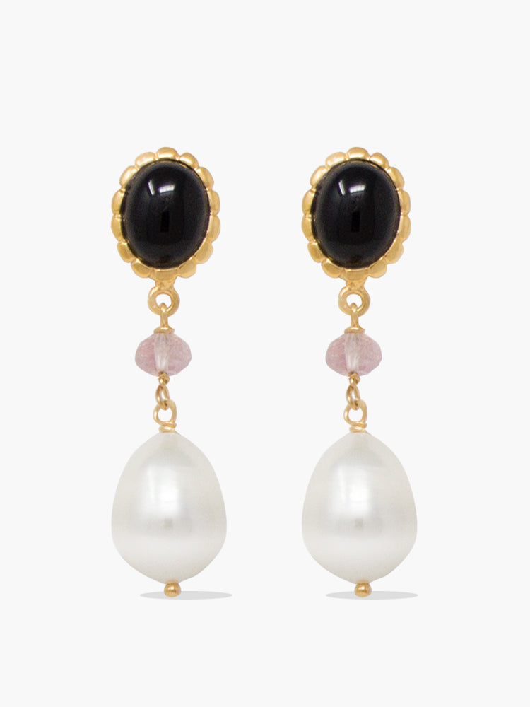 Rose-gold plated Onyx, Pink Quartz and Pearl Drop Earrings by Vintouch Jewels.
