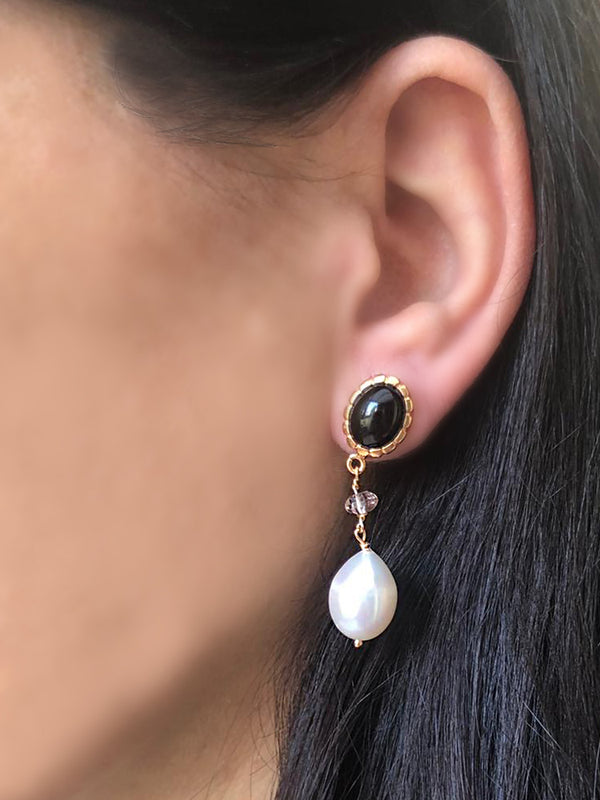 Onyx, Pink Quartz & Pearl Drop Earrings