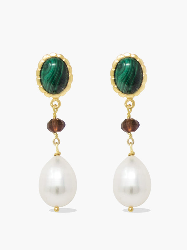 Malachite, Garnet & Pearl Drop Earrings