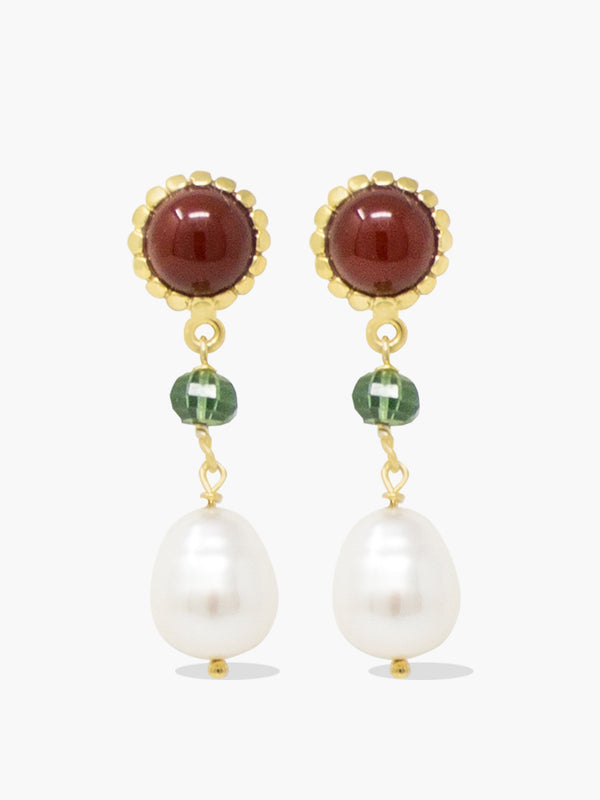 18-karat gold plated silver carnelian, green agate and pearl earrings.