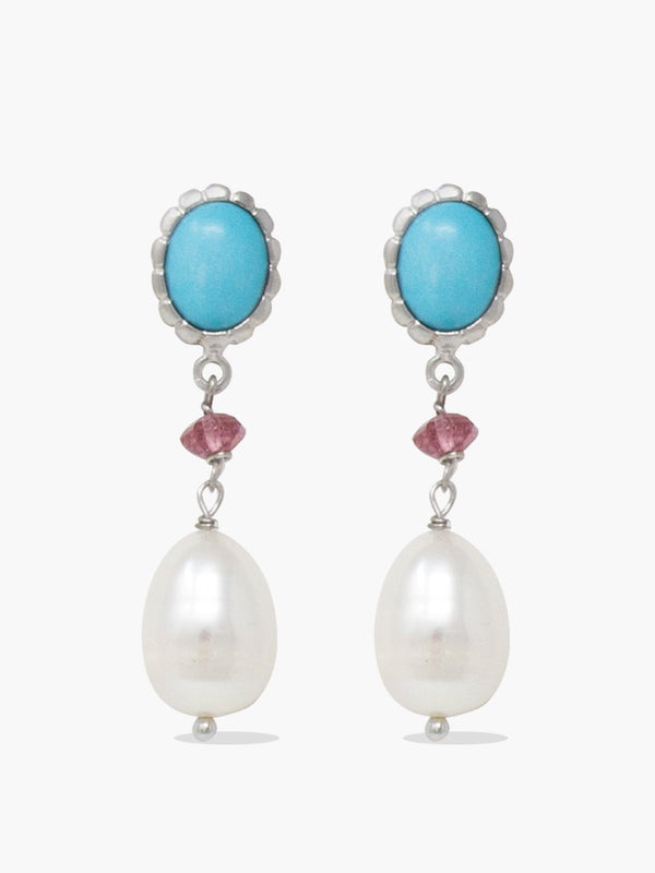 Sterling Silver Turquoise, Pink Quartz and Pearl Drop Earrings by Vintouch Jewels.