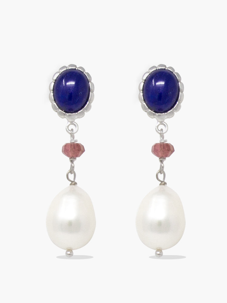 Sterling silver lapis, pink quartz and pearl drop earrings.