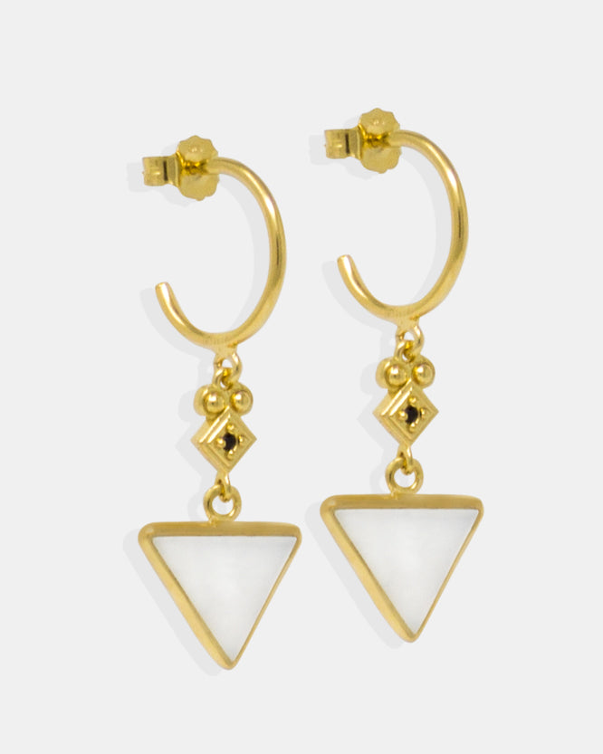 Vintouch Deco earrings are ideal to be worn on either day or on special evening events. Handcrafted from 18k gold-plated in the brand's studio in Naples, Italy, they have a vintage-inspired silhouette featuring mother of pearl and tiny sparkling black cubic zirconias.