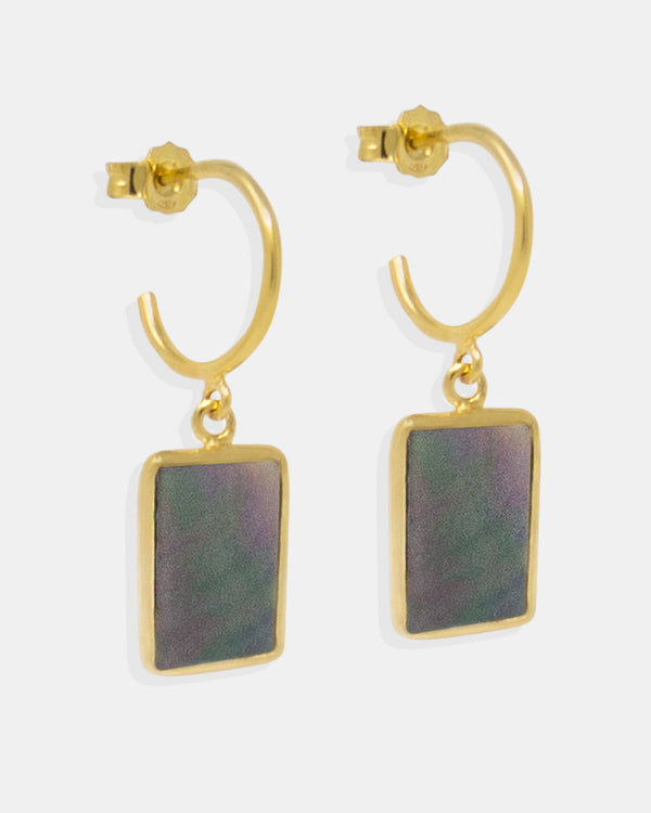 Inspired from art deco shapes, these mini hoop earrings are handmade in the Vintouch's studio from 18k gold-plated silver featuring dark mother of pearl elegantly iridescent, adding a shimmering effect to each movement you'll make.