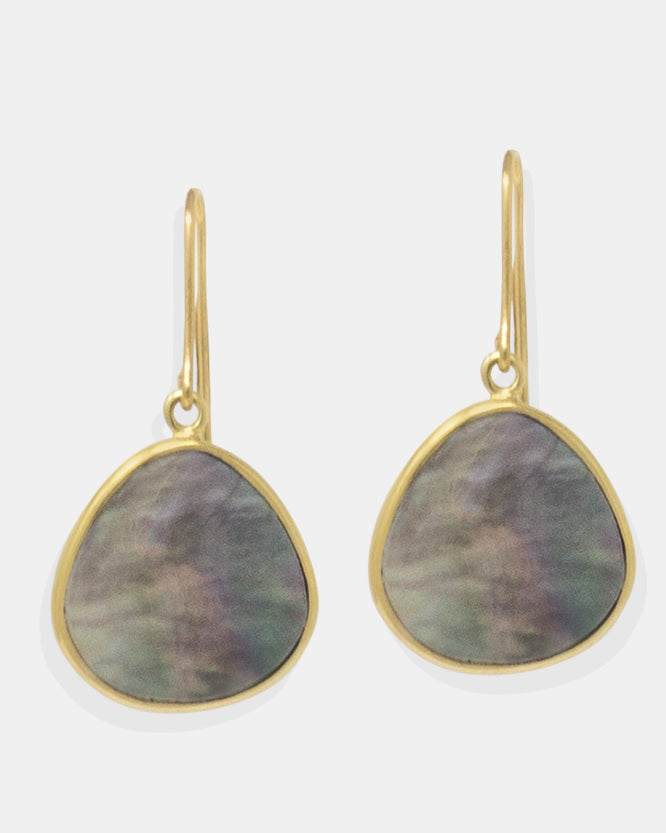 You may think of mother of pearl as only having a whitey, rich quality, but Vintouch's Tahiti earrings show that it can have a rainbow of colors as well. Made by hand from 18k gold-plated silver because of their irregular shapes, wear these earrings during the sunny summer days and beyond.