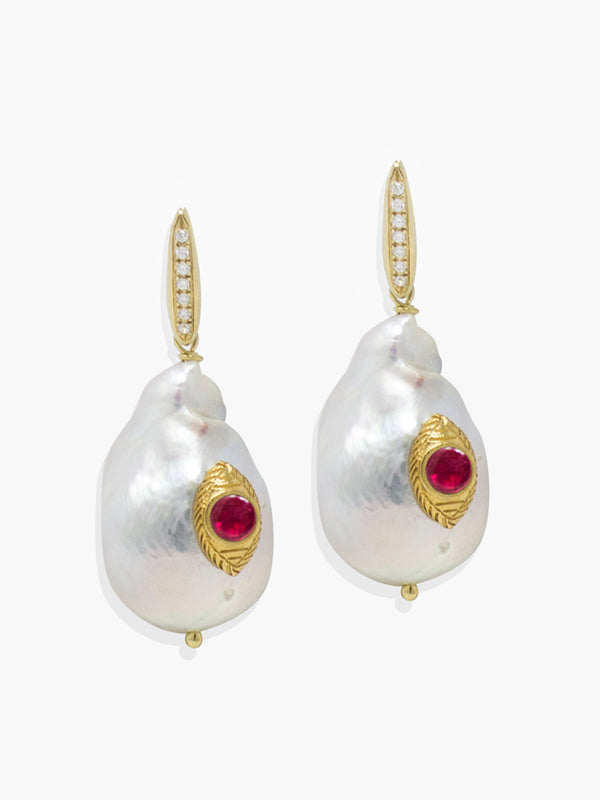 Vintouch's The Eye Baroque Pearl and Pink Ruby Earrings