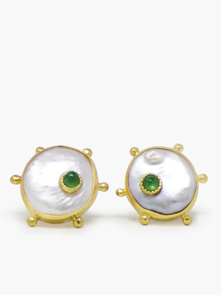 Vintouch's Rebel Rebel Green Emerald & Keshi Pearl Stud Earrings