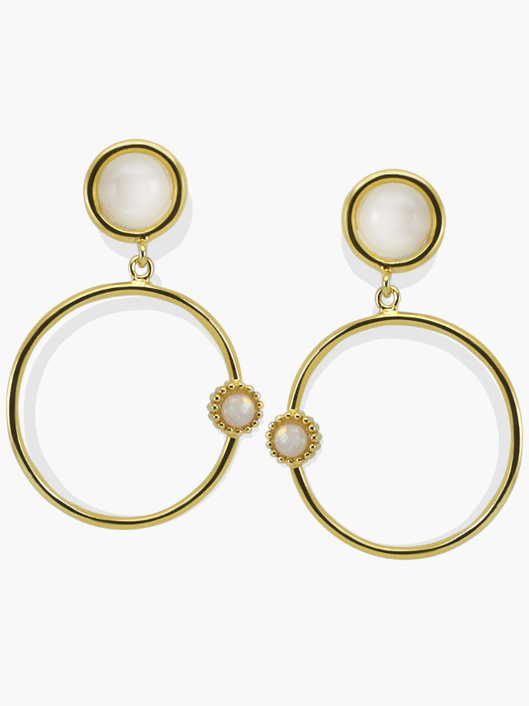 Satellites Moonstone Hoop Earrings