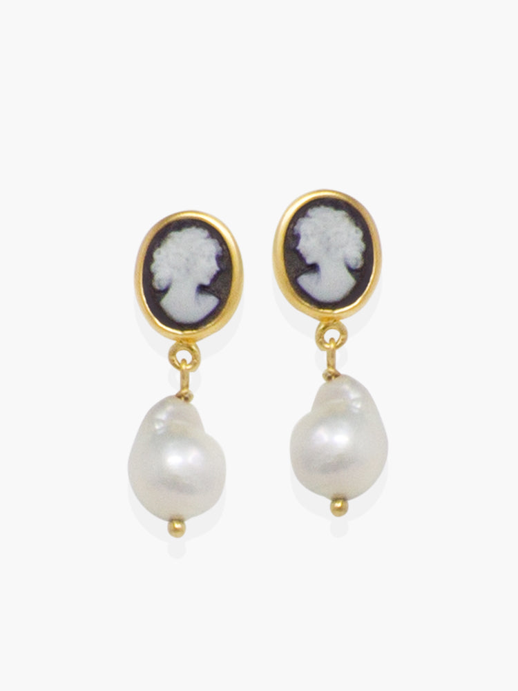 Black Mini Cameo & Pearl Earrings by Vintouch Jewels.
