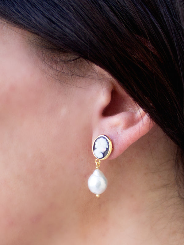 Black Mini Cameo & Pearl Earrings