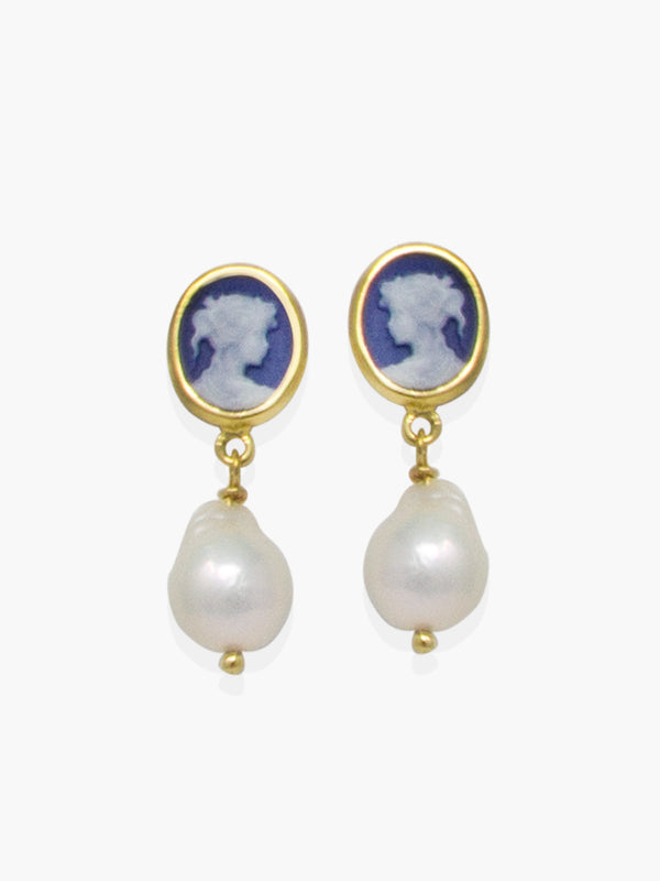 Two hand-carved little cameo earrings handset in 18k gold over silver, tiered to whitey baroque pearls.