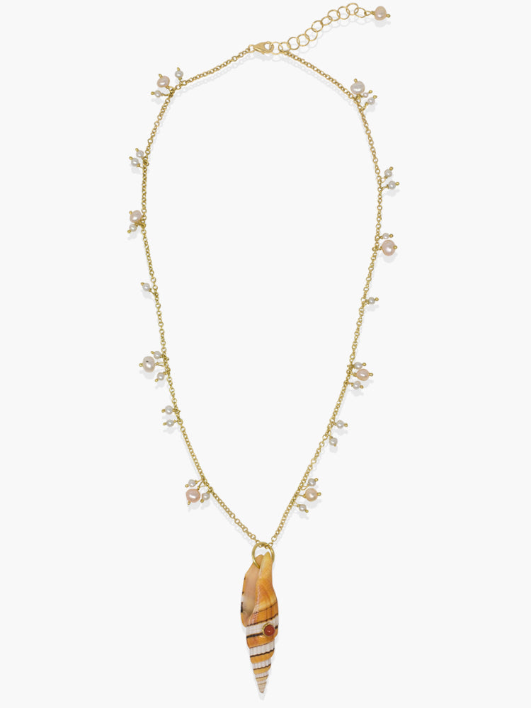 Bubble Pearls Necklace handmade in Italy by Vintouch Jewels, featuring irregular tiny pearls pending on a 18k gold plated silver and an orange Mitra shell charm marked with a handset coral bead.