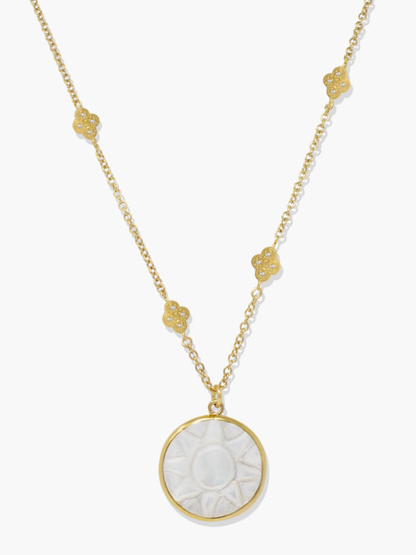 Vintouch's 'Le Soleil' gold-plated hand-carved Mother Of Pearl pendant necklace featuring glittering AAA grade white zircons.