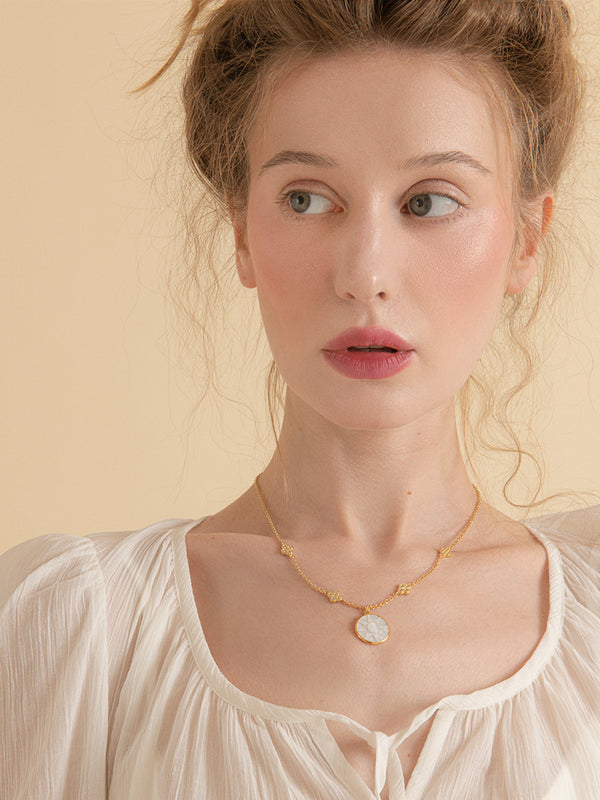 Le Soleil Mother Of Pearl Gold-Plated Necklace