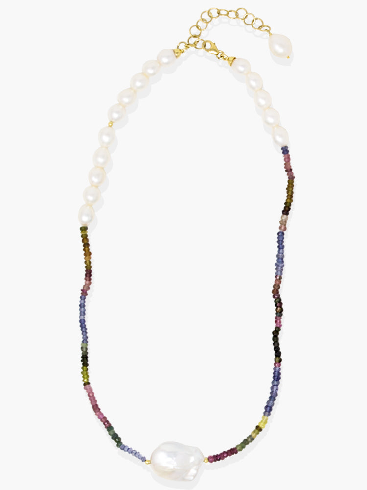 Venezia Multicolor Tourmaline & Pearl Necklace