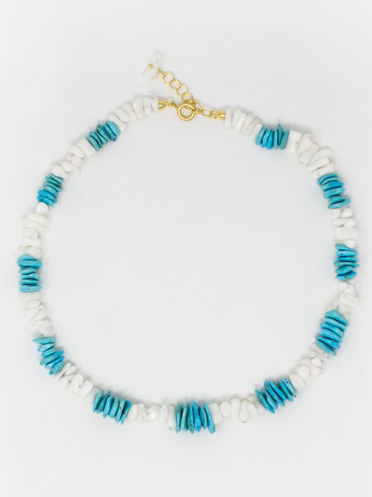 Positano Necklace by Vintouch Jewels, featuring natural turquoise and shells.