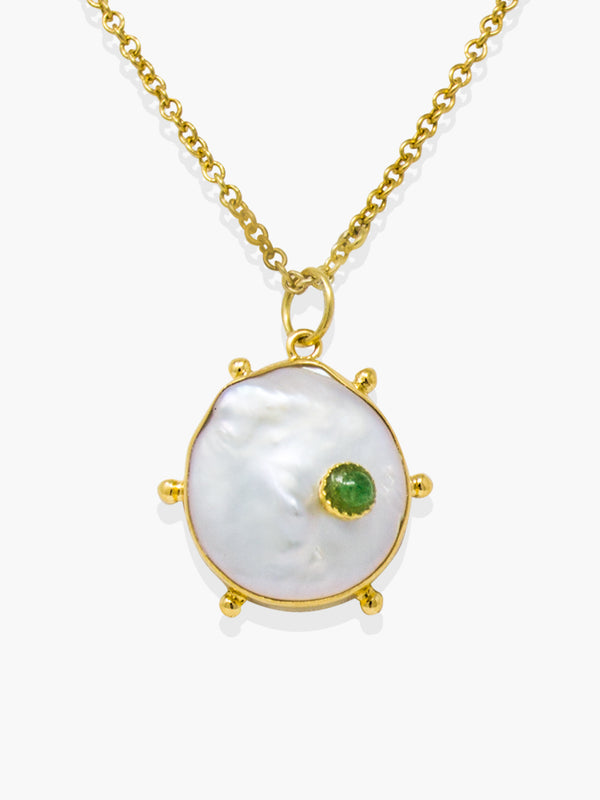 Vintouch's Rebel Rebel Green Emerald & Keshi Pearl Pendant Necklace