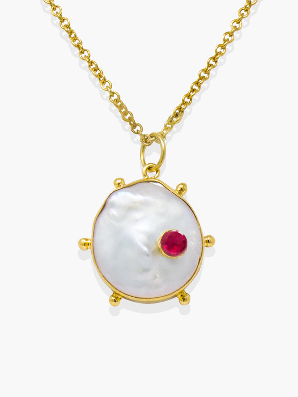 Vintouch's Rebel Rebel Pink Ruby & Keshi Pearl Pendant Necklace