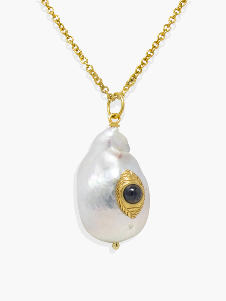 Vintouch's The Eye Blue Sapphire & Baroque Pearl Necklace