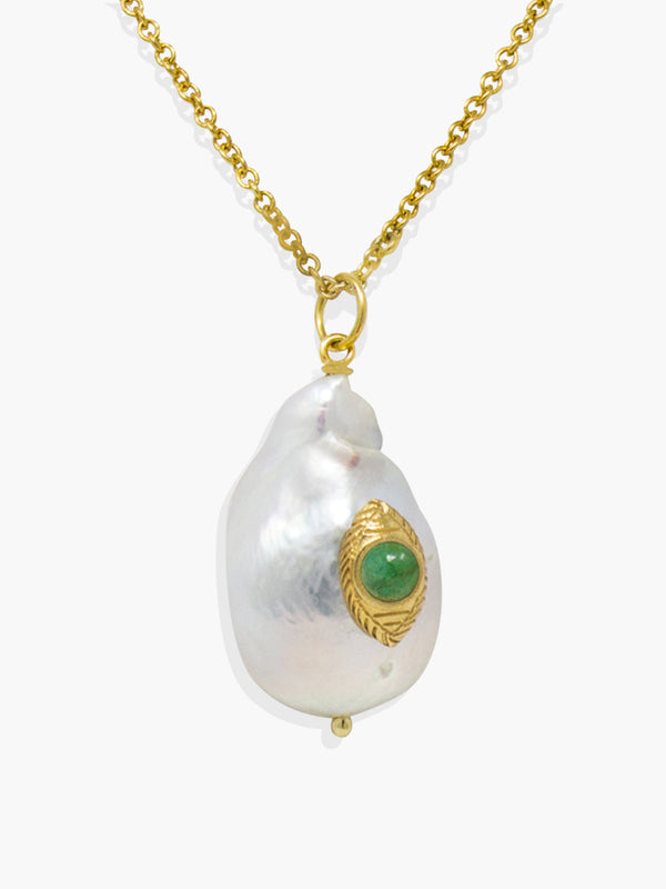 Vintouch's The Eye Green Emerald and Baroque Pearl Pendant Necklace