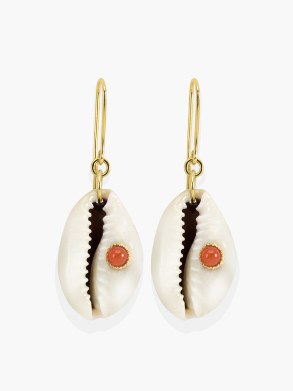 Coral & Cowrie Shell Earrings | Vintouch Jewels