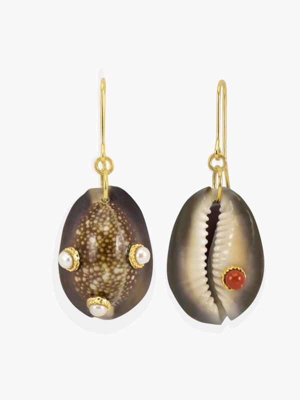 Cowrie Shell Earrings featuring pearls and coral | Vintouch Jewels