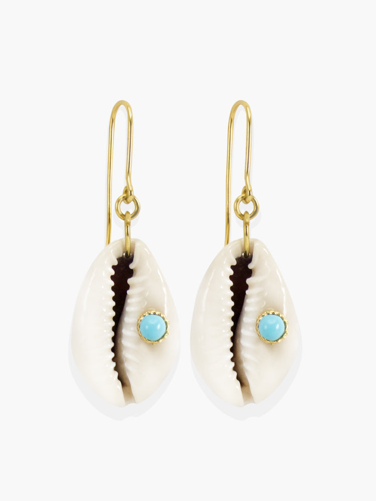Turquoise & Cowrie Shell Earrings | Vintouch Jewels