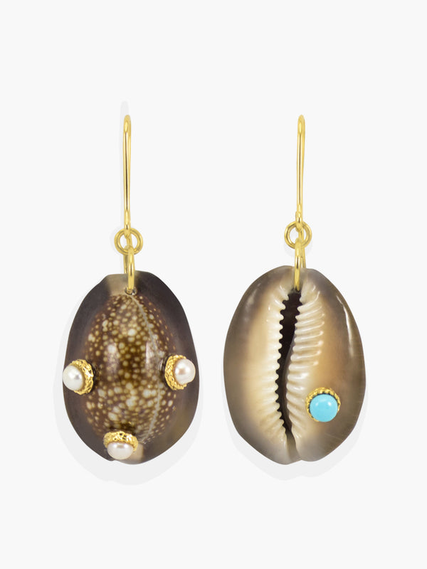 Pearls and Turquoise Dark Cowrie Shell Earrings | Vintouch Jewels