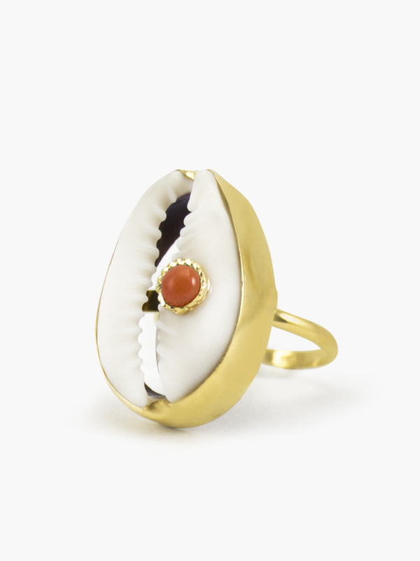 Coral & Cowrie Shell Ring | Vintouch Jewels