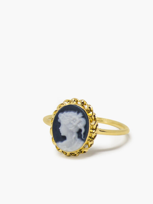Black Mini Cameo Stacking Ring