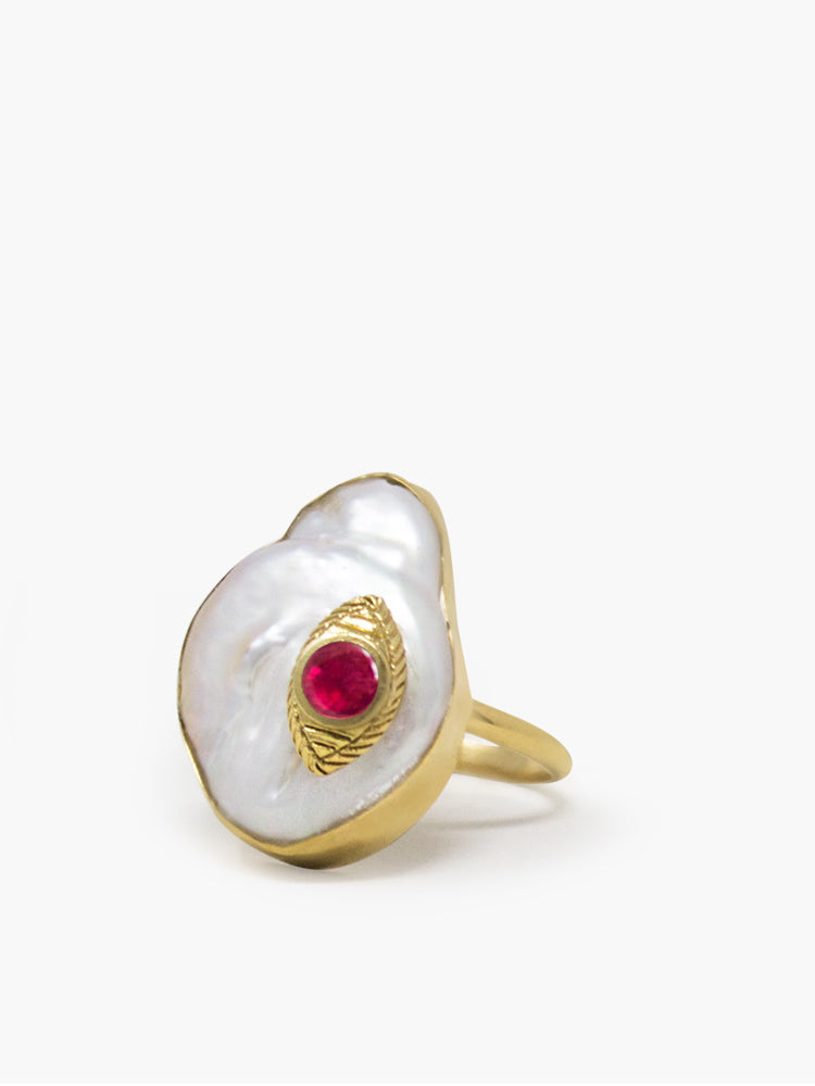 The Eye Gold-plated Ruby & Pearl Ring