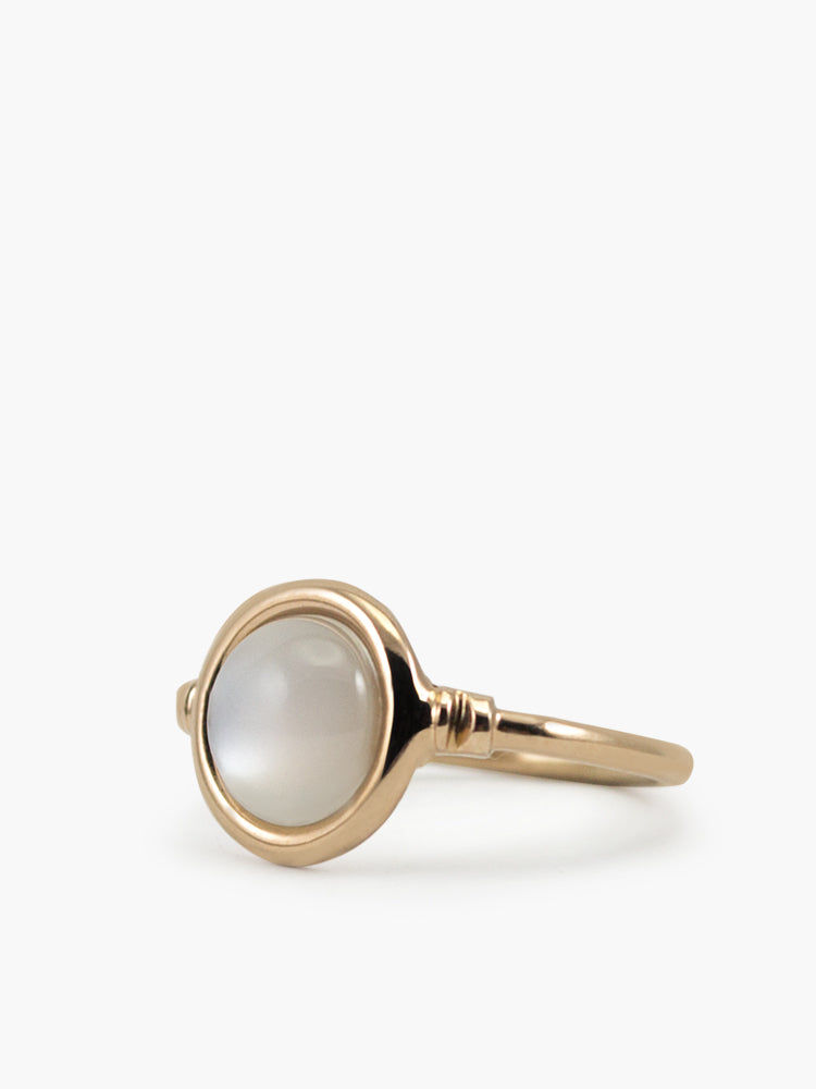 Vintouch Jewels 18k Rose Gold Plated Silver Moonstone Women's Ring