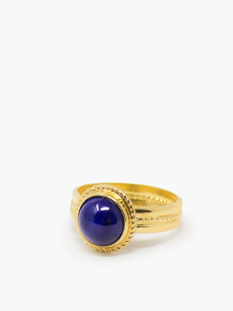Fascetta Gold-plated Lapis Ring by Vintouch Jewels