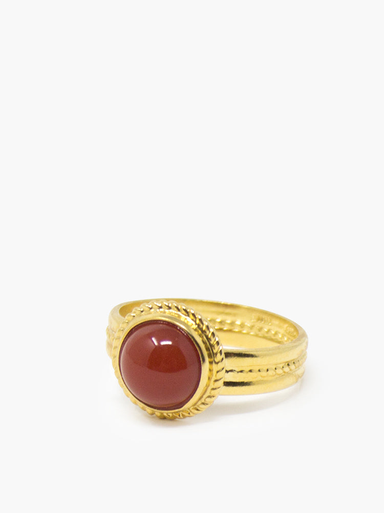 Fascetta Gold-plated Mini Carnelian Ring