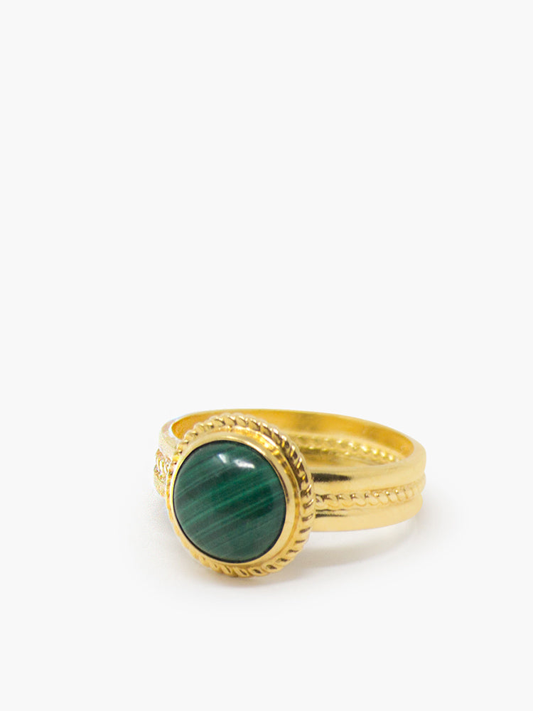 Fascetta Gold-plated Mini Malachite Ring by Vintouch Jewels