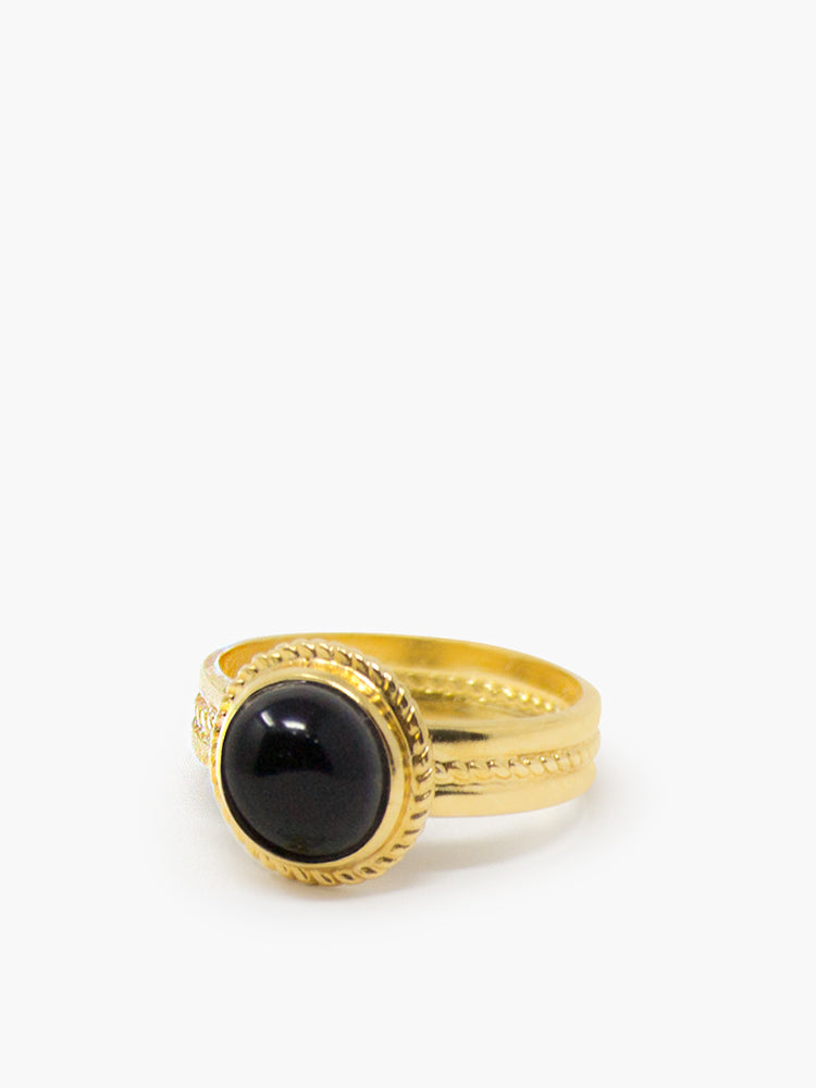 Fascetta Gold-plated Ring featuring mini onyx stone by Vintouch Jewels