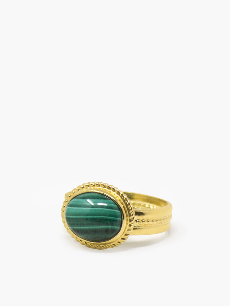 Fascetta Gold-plated Malachite Ring