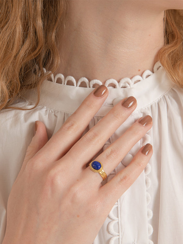 Fascetta Gold-plated Lapis Ring