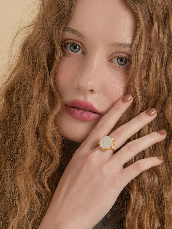 Le Soleil Mother Of Pearl Gold-Plated Ring