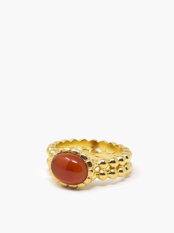 Carnelian Beady Band Ring by Vintouch Jewels