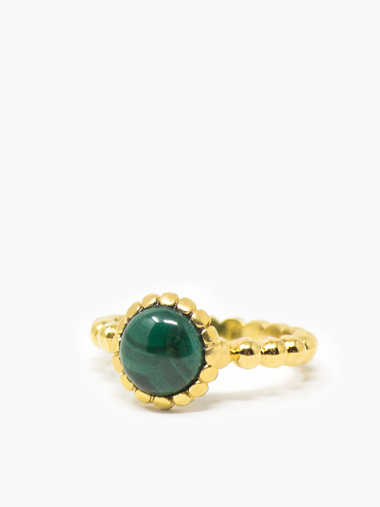 Beady Stacking Malachite Ring