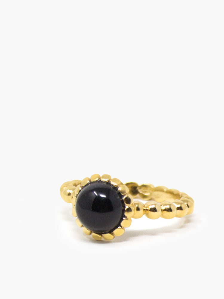 Onyx Beady Stacking  Ring